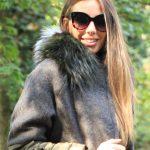 Cappottino in piumino e lana cashemere con collo in volpe
